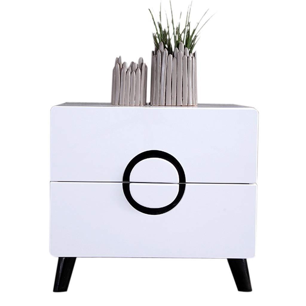 LMCLJJ Rustikaler Holztisch mit Nachttisch-Akzent und Schubladen-Nachttischen Stilvolles weißes Schlafzimmer Einfacher Aufbewahrungsschrank
