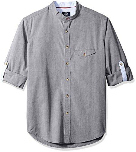 Brushed Mens Check Cotton - Badger Smith Men's Cotton Melange Chambray Slim Fit Banded Collar Shirt XL Grey
