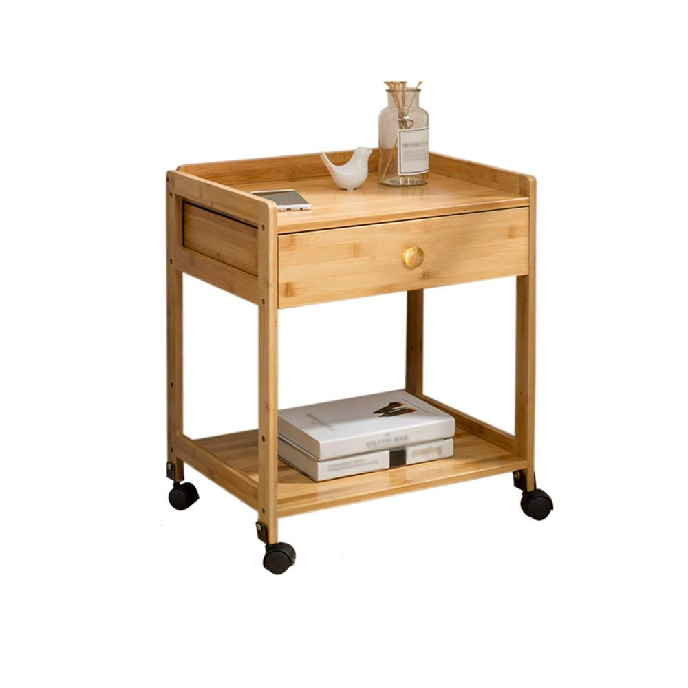 LJHA bianzhuo End Table, Bamboo Movable Cart with Pulley for Home Office Living Room Coffee Sofa Bedside Coffee Table Laptop Side Table, with Drawer Bedside Tables (Color : A, Size : 46.5x38x57cm) by GYH End Table