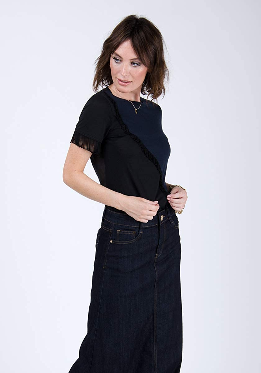 Denim Long Skirt Indigo Full Length Maxi Flared Skirt