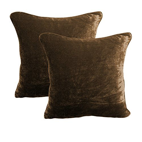 BRIGHTLINEN 2Pcs Cushion Cover(Chocolate, 18'' X 18' 18Inches x 18Inches) 100% Cotton Velvet Hotel Quality 600 Thread Count ()