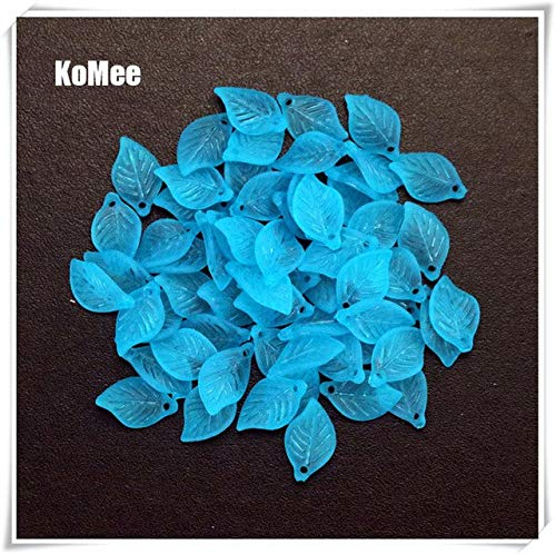 Calvas Hot Sale 100pcs/lot Acrylic Leaf Beads 18mmx11mm Craft Bracelet DIY Beads for Jewelry Making Frosted Acrylic Charm Spacer Beads - (Color: Lake Blue, Item Diameter: 11x18mm)