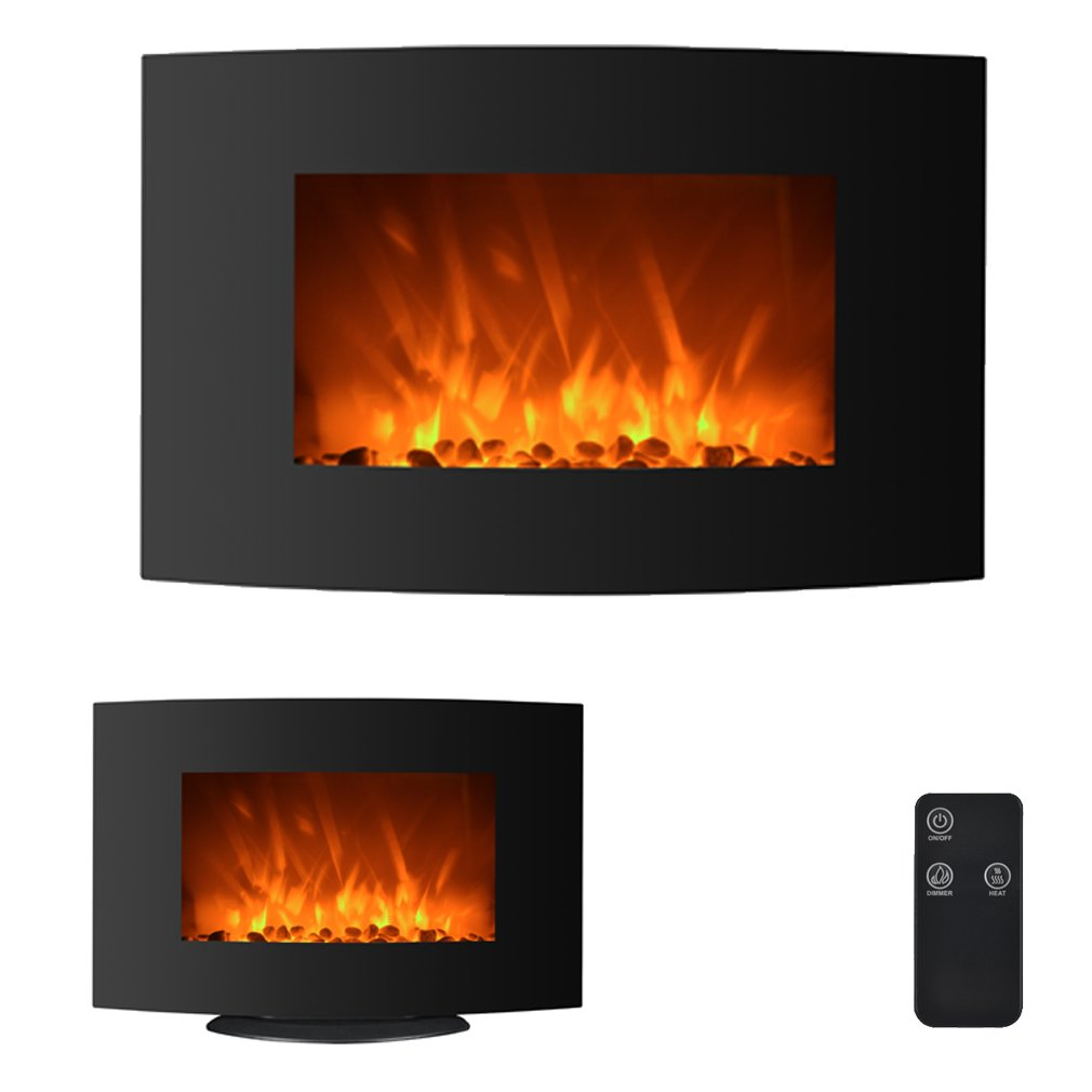 BestMassage 35'' 750W/1500W Electric Fireplace 2-in-1 Adjustable Color Curve Glass Wall Mounted and Standing Fireplace Adjustable w/Remote