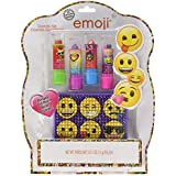 Townley Girl Emoji Super Sparkly Lip Balm for Girls, Four Fruity Flavors with decorative carrying case