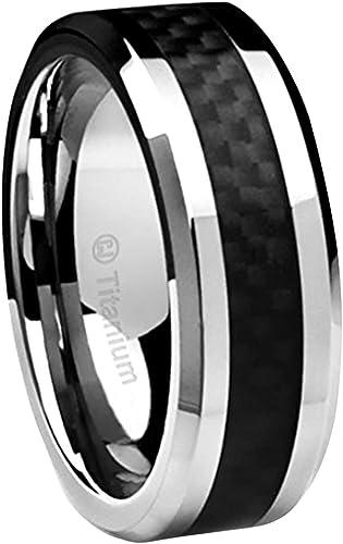 Wedding Bands Classic Bands Flat Bands w//Edge Titanium Black Ti 8mm Brushed and Polished Beveled Edge Band Size 13