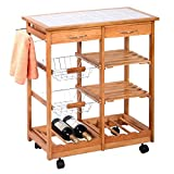 Island Countertop Rolling Wood Kitchen Trolley Cart Countertop Dining Storage Drawers Stand New
