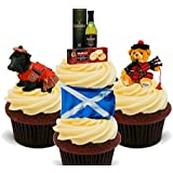 Scotland Fun Pack, Edible Cupcake Toppers - Stand-up Wafer Cake Decorations by Made4You