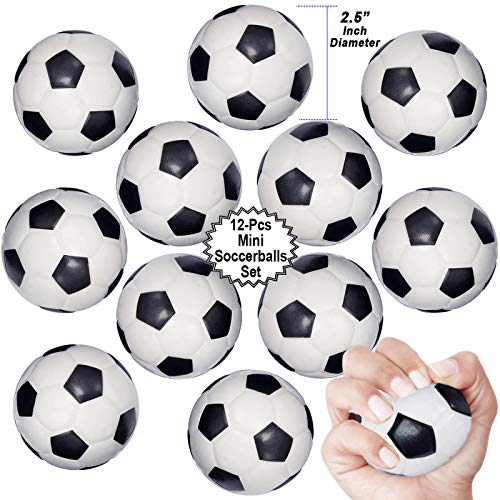 Mini Sports Balls for Kids Party Favor Toy, Soccer Ball, Basketball, Football, Baseball (12 Pack) Squeeze Foam for Stress, Anxiety Relief, Relaxation. (12 Pack (Soccer balls))]()
