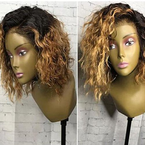 Ten Chopstics Wigs Blonde Ombre Short Curly Human Hair Wigs for Black Women Gold 1BT27 Lace Front Wigs with Baby Hair Two Tone Bob Wig 10 Inch Bleached Knots 100% Virgin Brazilian Hair Wig Side Part