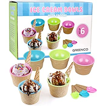 Fresh Amazon.com | Greenco Set of 6 Vibrant Colors Ice Cream Bowls and  NO48