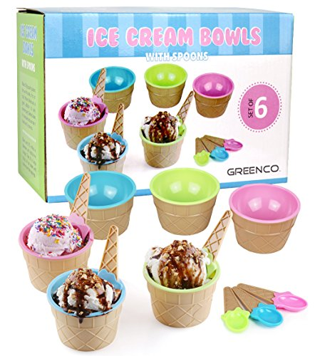 Greenco Set of 6 Vibrant Colors Ice Cream Bowls and Spoons (Cone Ice Cream Dishes)