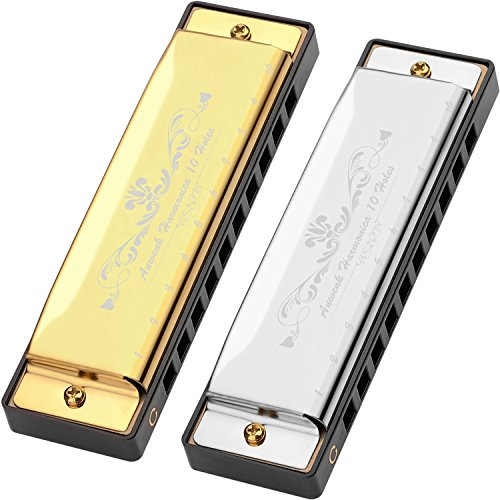 Harmonica for Kids, Anwenk 2Pack Harmonica Key of C 10 Hole 20 Tone Diatonic Harmonica C with Case for Beginner,Students,Kids Toddlers Gift, Silver and Gold