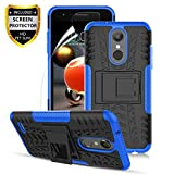 LG Aristo 2 Case,Aristo 3/Aristo 2 Plus/3Plus/K8 2018/K8+/Tribute Empire/Tribute Dynasty/Zone 4/Fortune 2/Risio 3/Rebel 4/Phoenix 4/K8S,Dual Layer Shockproof,w HD Screen Protector,Tire Appearance-Blue