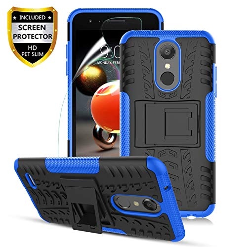 LG Aristo 2 Case,Aristo 3/Aristo 2 Plus/3Plus/K8 2018/K8+/Tribute Empire/Tribute Dynasty/Zone 4/Fortune 2/Risio 3/Rebel 4/Phoenix 4/K8S,Dual Layer Shockproof,w HD Screen Protector,Tire Appearance-Blue (Phone Case For Lg 3)