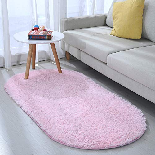 Junovo Oval Fluffy Soft Area Rugs for Kids Room Children Room Girls Room Nursery,2.6' X 5.3',Pink