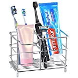 X-Large Toothbrush Holder,Famistar 6 Slots Stainless Steel Bathroom Multi-functional Storage Stand for Electric