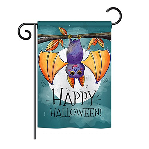 Breeze Decor G162076 Happy Halloween Bat Fall Decorative Vertical Garden Flag, 13