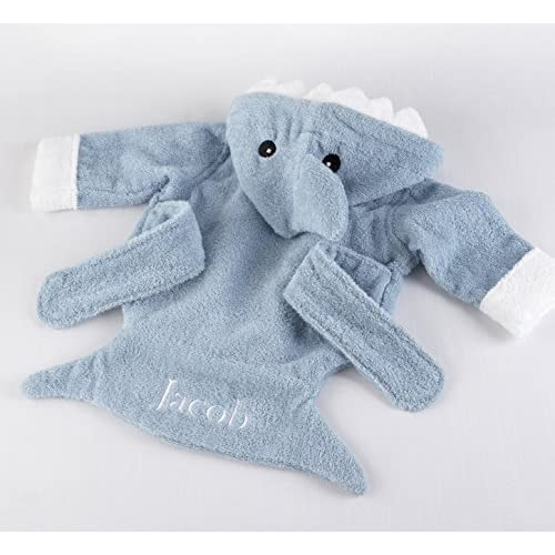 "Personalized Baby Aspen ""Let the Fin Begin"" Blue Shark Robe, Hooded Baby Robe, 0-9 Months"