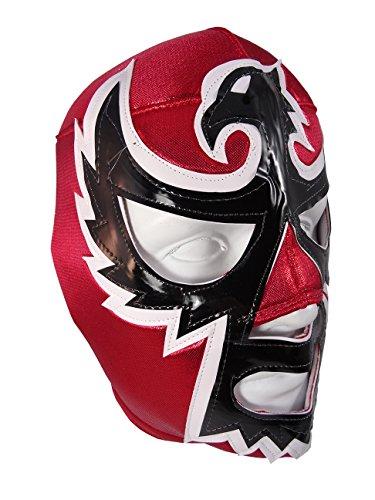BLACK HAWK Adult Lucha Libre Wrestling Mask (pro-fit) Costume Wear - RED -