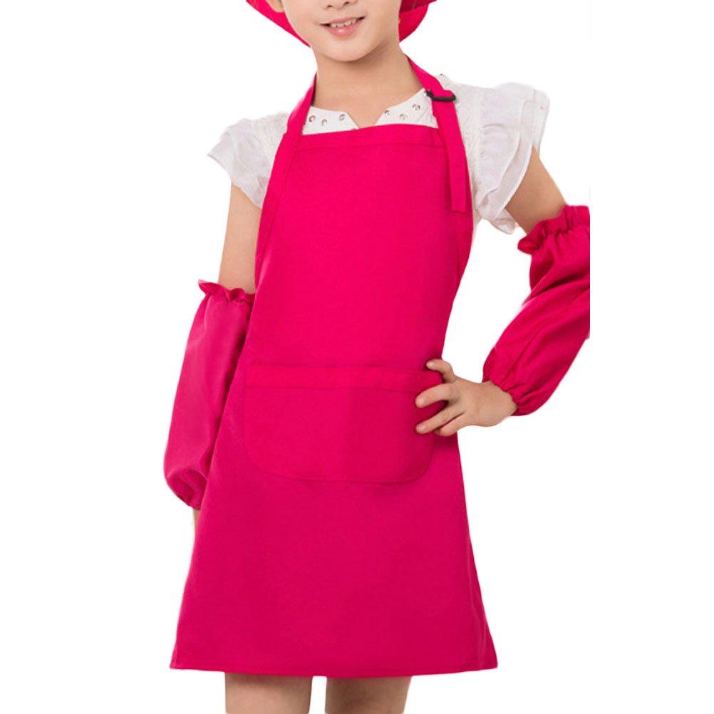 Nanxson Unisex Kids Children Apron Painting Playing Apron Hat Sleeves 3 Pieces Set CF3013 CF3013 pink