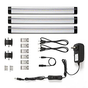 LE LED Under Cabinet Lighting, Warm White, 900lm, Total of 12W, 24W Fluorescent Tube Equivalent, 3 Panel Kit, All Accessories Included, 12V LED Closet Light Fixtures, Under Counter Lights