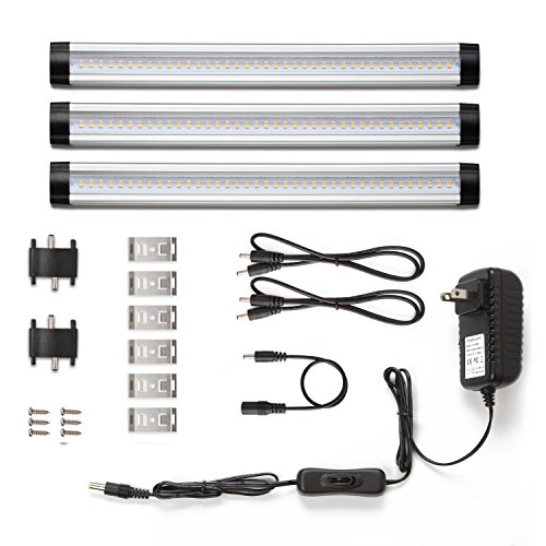 LE LED Under Cabinet Lighting, Warm White, 900lm, Total of 12W, 24W Fluorescent Tube Equivalent, 3 Panel Kit, All Accessories Included, 12V LED Closet Light Fixtures, Under Counter (Hutch Light)