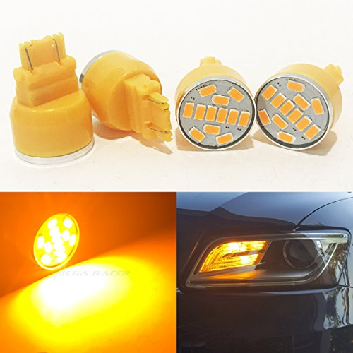 - Mega Racer 4 Pc 3157 Amber-Yellow LED 19 Chip P27/7W W2.5x16Q WU2.5q T25 (Front Turn Signal Light Bulb) Replace 3057 3156 3357 4157