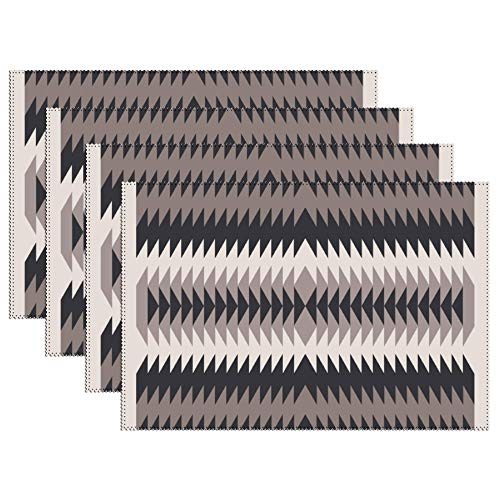 DKISEE Stain Resistant Placemats, Navajo Crystal Eye Native American Pattern Anti-Skid Washable Polyester Table Mats Non Slip Washable Placemats, 12