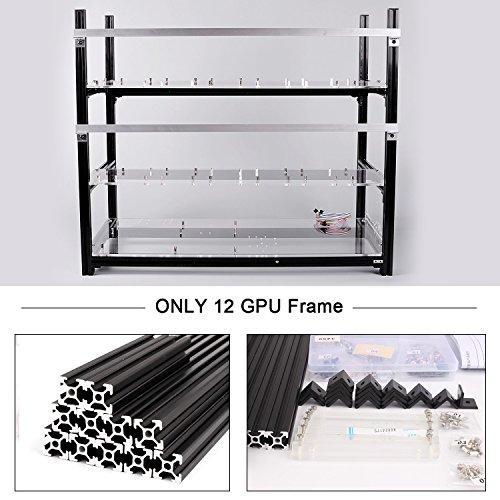 12 GPU Aluminum Mining Case Rig Open Air Frame Stackable Miner Case For ETH/ETC/ZCash/Cryptocurrency (Black Case,No Fans) - Aluminum Stackable