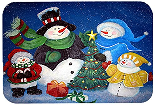 Treasures Snowman - Caroline's Treasures PJC1086LCB The Family Gathering Snowman Glass Cutting Board, Large, Multicolor
