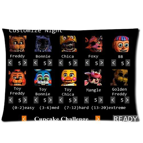 ARTSWOW 50% Polyester?50% Cotton Five Nights at Freddy Pillowcase with Zipper Rectangle Pillow Case Cover Standard Size Two Sides 20X26 ?Personalize Pillowcase OOXJtyu