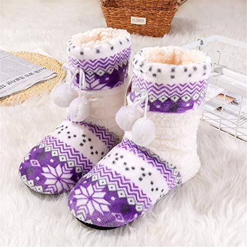 Pantofole Flysxp Fresca Cotone Fondo Scarpe Caldo Purple Tubo Di Donna Morbido Casa Lungo Adulti Da Floreale Per Inverno Coperta rqwTfr