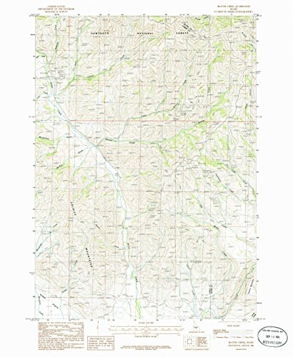 Beaver Creek ID topo map, 1:24000 scale, 7.5 X 7.5 Minute, Historical, 1986, updated 1986, 26.8 x 22 IN - Tyvek - Forest Cherry Wine