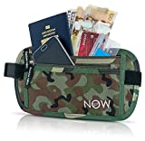 Travel Fanny Pack Passport Holder - RFID Blocking Hidden Waist Pack Wallet for Men & Women. Anti Theft Money Belt, Secure Phone Pouch for Traveling, Hiking, Running, Bike (Black Pink Purple Blue Camo)