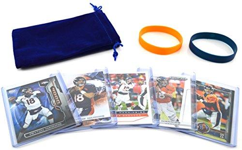 Peyton Manning (5) Assorted Football Cards Bundle - Denver Broncos Trading Cards ()