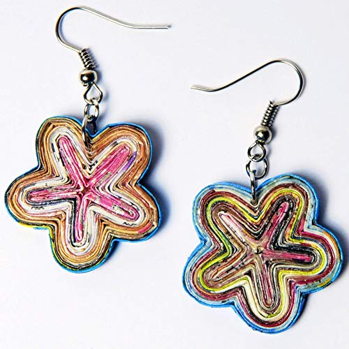 - Earring in flower shape made from magazine paper PRIME recycled say it with flowers gift for mom mother wife girlfriend organic fun creations quilled handmade by artisan eco friendly jewelry design