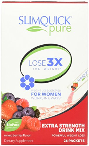 SLIMQUICK Pure Weight Loss Drink Mix Designed for Women, Mixed Berries 26 ea
