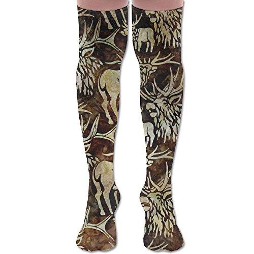 Men's/Women's Batiks Wildlife Sanctuary Moose Earth Casual Crew Top Socks 60cm (Batik Earth)