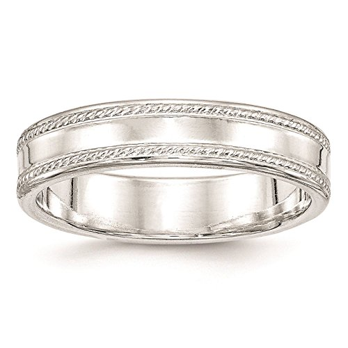 925 Sterling Silver 5mm Edged Design Polished Wedding Ring Band Size (5mm Edged Band Ring)