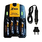 Xtech 4 AA Nimh High -Capacity Rechargeable Batteries 3100mAh plus Quick AC/DC Charger with Car Charger Adapter for Cameras, Digital Cameras, Trail Cameras, Security Cameras, Alarm clocks, Recorders, Calculators, Portable Electronic Devices, Portable Radi