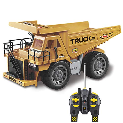 HUIGE 1:8 RC Engineering Alloy Remote Control Dump Truck with Lights, 2.4GHz Remote Simulation Mine Construction Vehicle Construction Vehicle Toys Gift Birthday Christmas