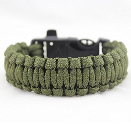 Bolayu Outdoor 4 in 1 Popular Rescue Rope Flint Fire Escape Bracelet Survival Gear (B) (Her Diving Watch)