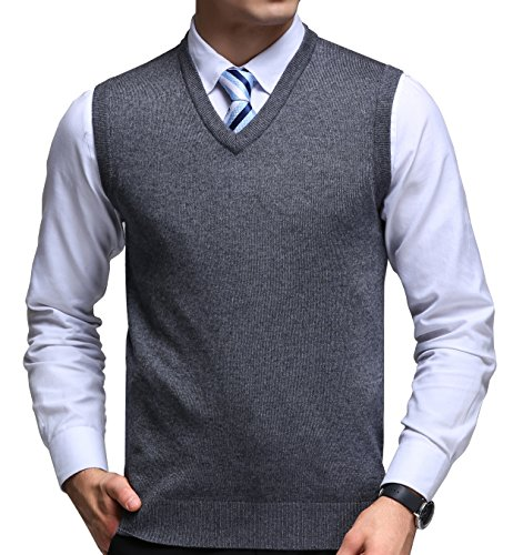 FULIER Mens Winter V-Neck Sleeveless Vest Classic Business Gentleman Knitwear Knitted Waistcoat Sweater Cardigans Tank Tops (M, Dark Grey)