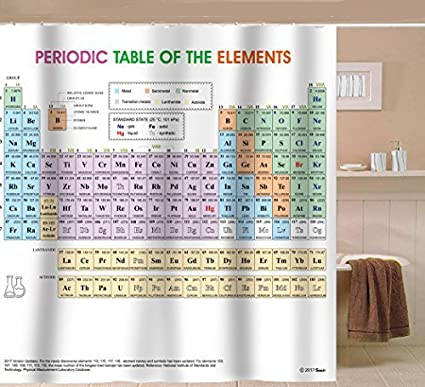 updated periodic table of elements shower curtain pvc free odorless non toxic fabric