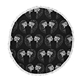 KESS InHouse Maria Bazarova Twins White Abstract Round Beach Towel Blanket