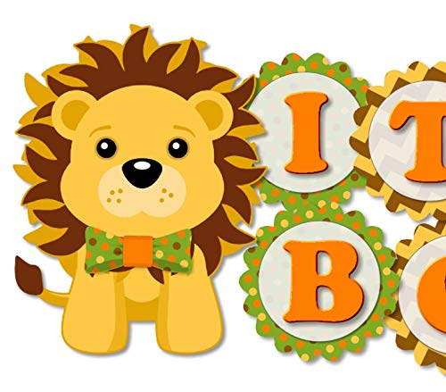 "Lion Baby Shower Banner Party Decoration for Boy with Bow Tie -""IT"