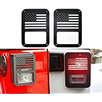 FMtoppeak Black Tail Light Lamp Standard Models Cover For JEEP Wrangler 2007-2016