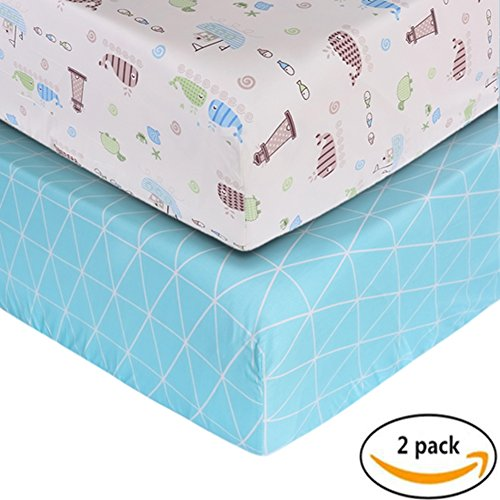 Crib Sheet UOMNY 100% Cotton Baby Coverlet for Baby Girl and Baby Boy 2 Pack(Blue line Pattern/Ocean Pattern )