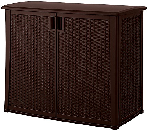 Rattan Cabinet 40 Inches Brown Plastic 2 Door Hidden Storage Indoor Outdoor Home Balcony Garden Backyard Weather Resistant Waterproof Adaptable Shelf & eBook by Easy&FunDeals (2 Door Outdoor Cabinet)