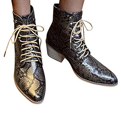 TnaIolral Women Suede Boots Square Heel Embroidery Boots Lace-Up Pointed Toe Shoes (US:5.5, Black1)
